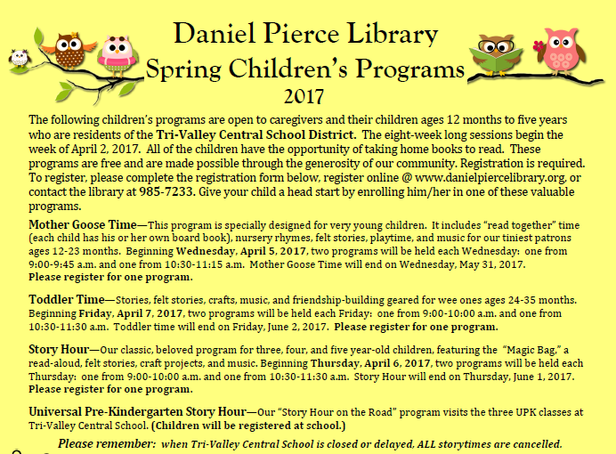 Spring Children's Programs 2017